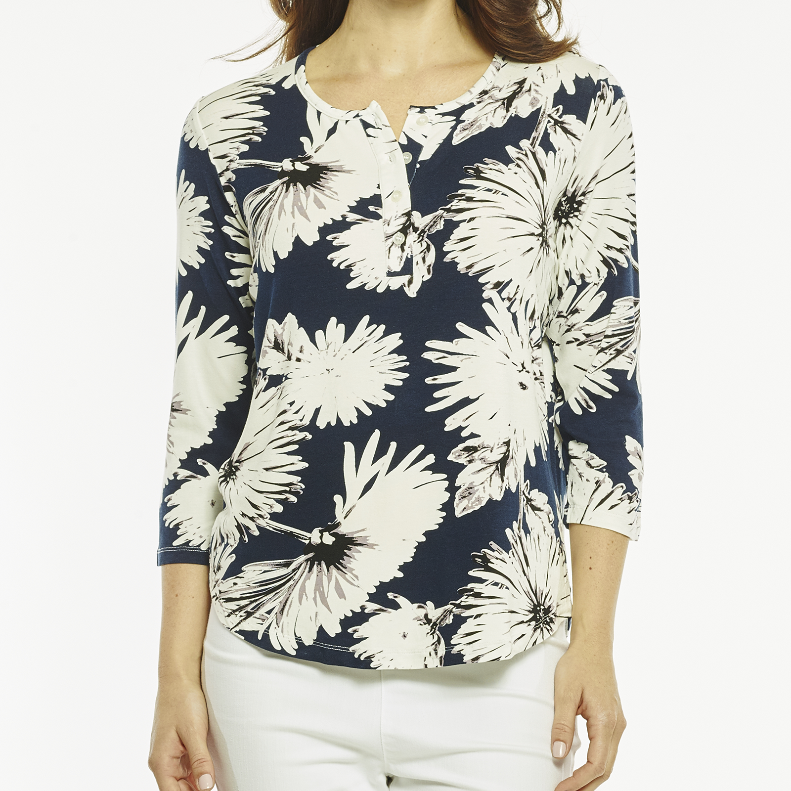 EXPLODED DAISY HENLEY TOP