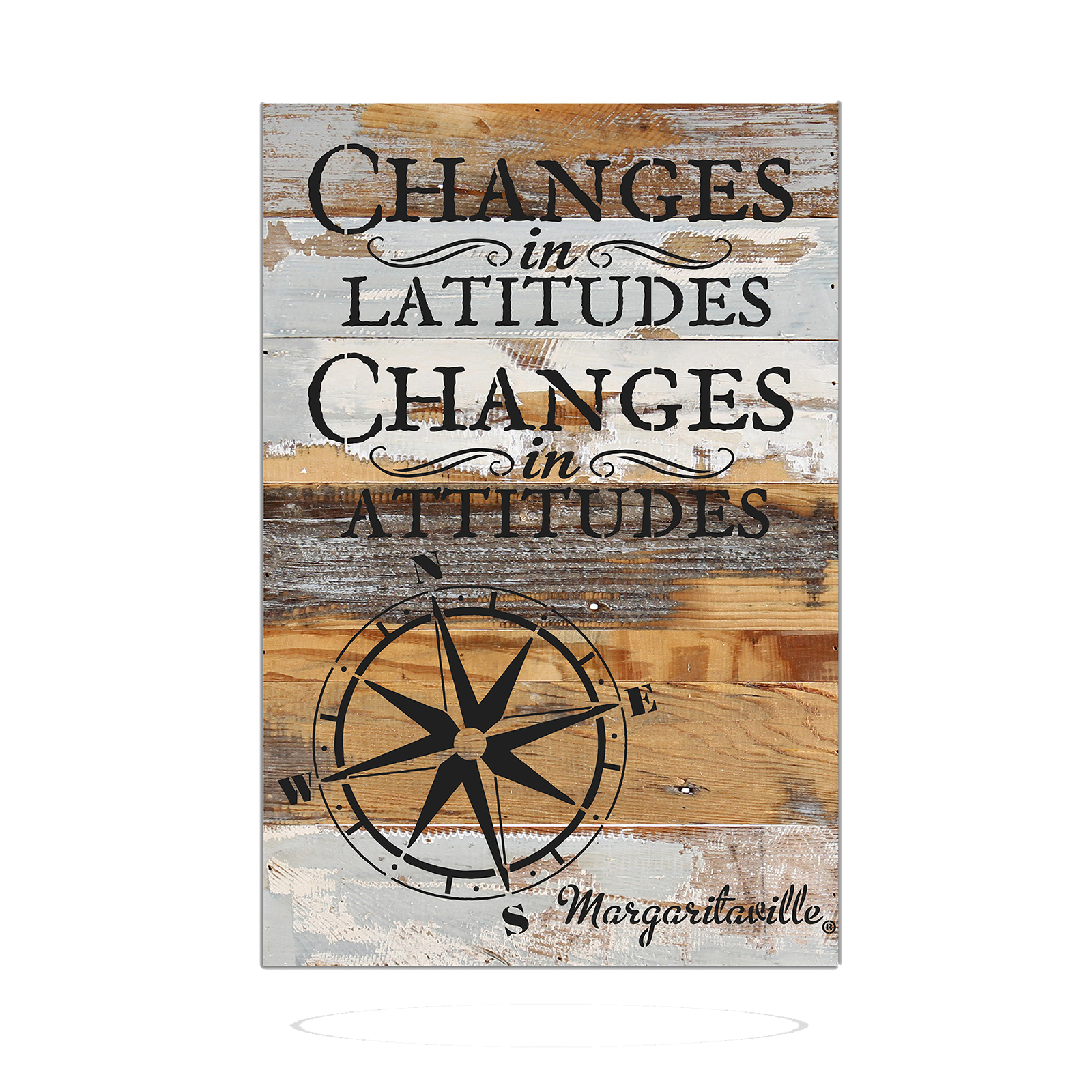 CHANGES IN LATITUDE WOOD SIGN