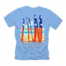 RED WHITE BLUE SKIES SURF TEE