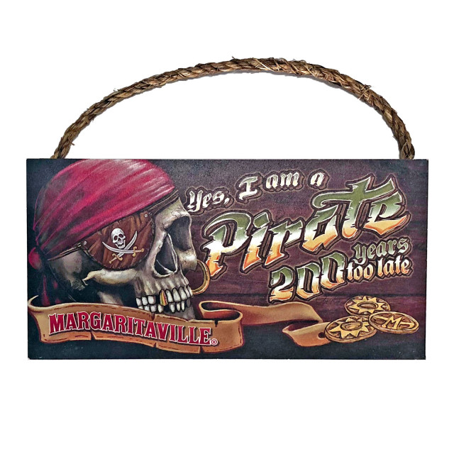YES PIRATE WOOD SIGN