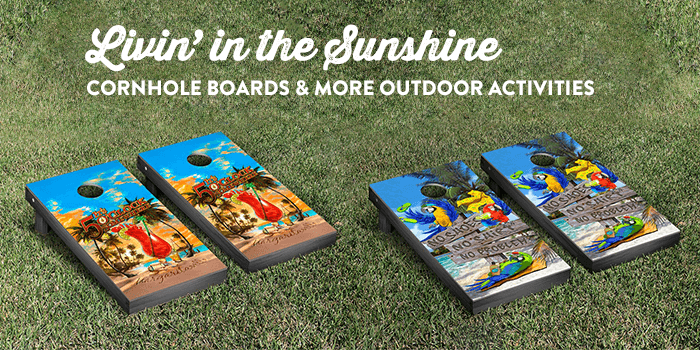 cornhole boards, golf bags, bicycles